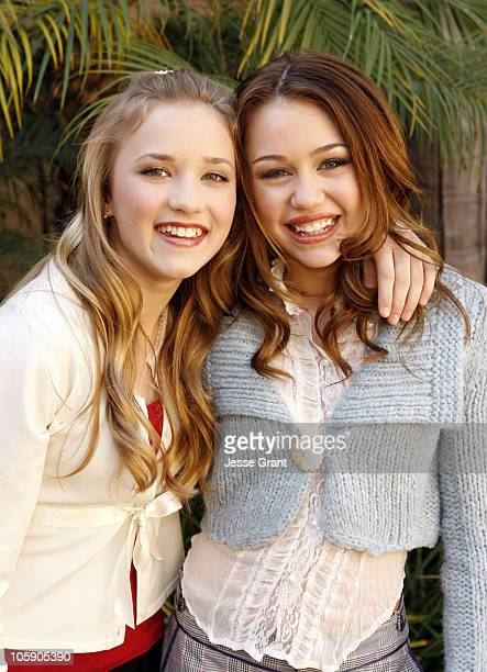 Emily Osment and Miley Cyrus during Stars of Disney Channel's 'Hannah Montana' Meet the Press at Ritz Carlton Huntington Hotel in Pasadena California...