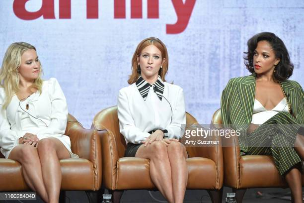 Emily Osment Brittany Snow and Megalyn Echikunwoke of Almost Family speak during the Fox segment of the 2019 Summer TCA Press Tour at The Beverly...