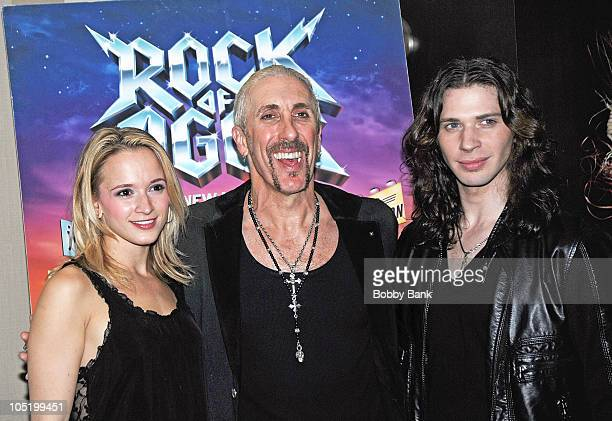 Emily Padgett Dee Snider and Joey Taranto attend Dee Snider's Broadway debut in Rock of Ages at the The Glass House Tavern on October 11 2010 in New...