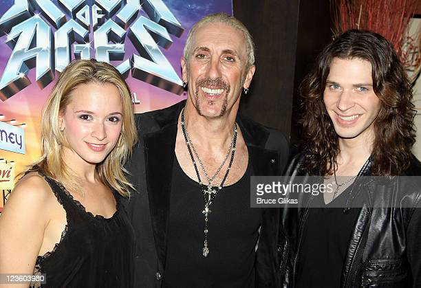 Emily Padgett Dee Snider and Joey Taranto pose at The Opening Night Party for his debut in Rock of Ages on Broadway at The Glass House Tavern on...
