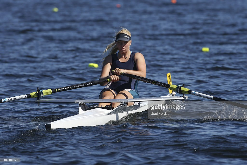 Emily Parkes of Glendowie College competes in the girls under-17 single sculls during the New Zealand Junior Rowing Regatta on February 24, 2013 in Auckland, New Zealand.