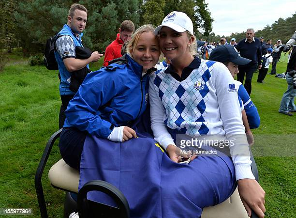 Emily Pedersen and Linnea Strom of Team Europe pose during the final day Singles matches at the 2014 Junior Ryder Cup at Blairgowrie Golf Club on...