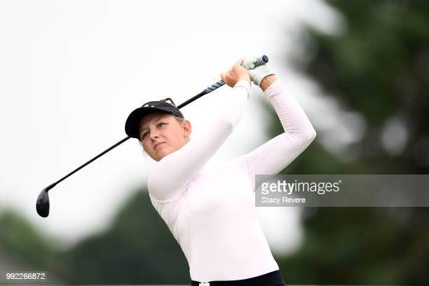 Emily Pedersen of Denmark hits her tee shot on the 16th hole during the first round of the Thornberry Creek LPGA Classic at Thornberry Creek at...
