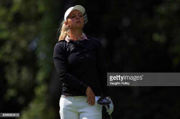 Emily Pedersen of Denmark watches her tee shot on the 11th hole during round two of the Canadian Pacific Women's Open at the Ottawa Hunt Golf Club on...