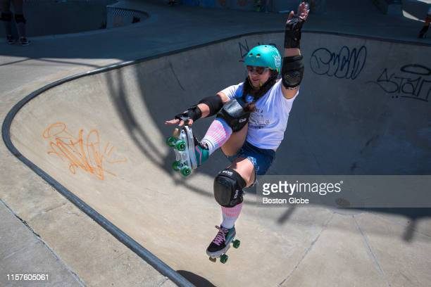 Emily Perry of Lowell airs out of a bowl at Lynch Family Skatepark in Cambridge MA on July 7 2019