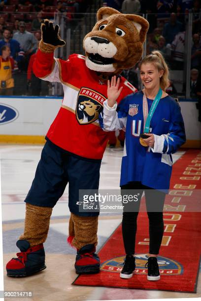 SUNRISE FL MARCH 10 Emily Pfalzer of the US National Hockey team is introduced before the start of the game against the New York Rangers As a member...