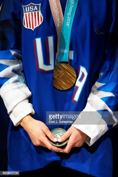 Emily Pfalzer of the US National Hockey team is introduced before the start of the game against the New York Rangers As a member of the US...