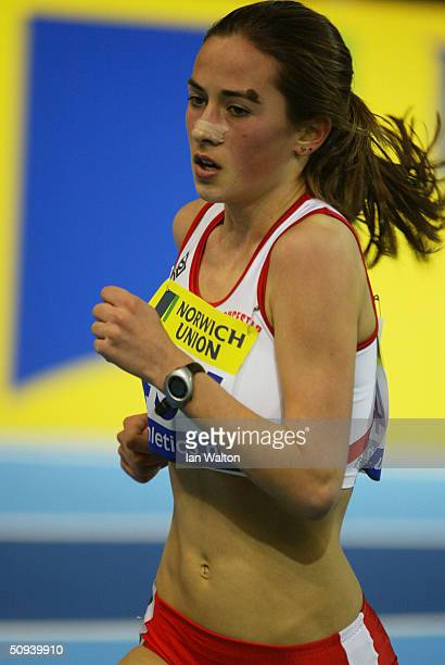 Emily Pidgeon of Gloucester AC in action in the 3 000 metres during the Norwich Union World Indoor Athletics Trials at the English Institue of Sport...