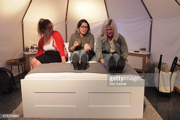 Emily Platt Rachel Prefer and Morgan H West attends the Snooze Bar Tour KickOff presented by Casper at 3330 Cady's Alley on May 13 2015 in Washington...