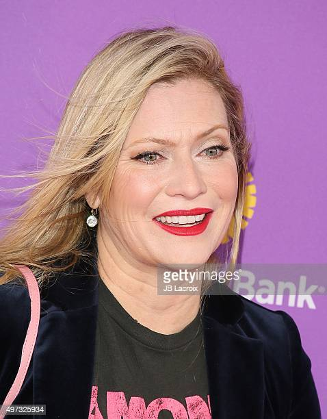 Emily Procter attends Express Yourself 2015 to benefit PS ARTS providing arts education to 25000 public school students each week at Barker Hangar on...