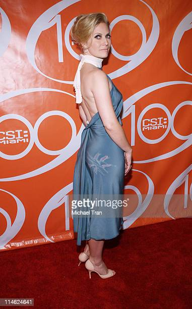 Emily Procter during CSI Miami 100th Episode Party Arrivals at Malibu Beach in Malibu California United States
