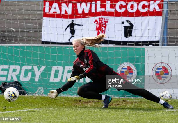 Emily Ramsey of Manchester United Women during the prematch warmup during The SSE Womens FA Cup Quarter Final match between Reading FC Women and...