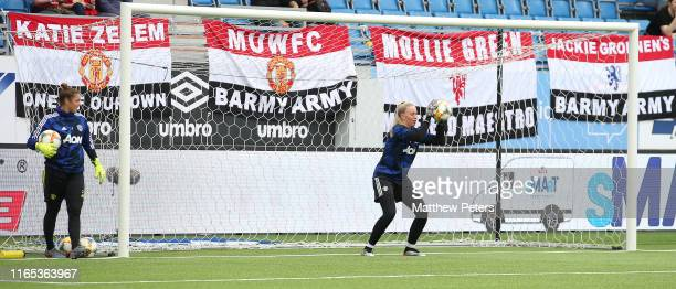 Emily Ramsey of Manchester United Women warms up ahead of the preseason friendly match between Valerenga and Manchester United Women at Intility...