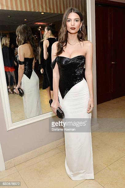 Emily Ratajkoski wearing Vivienne Westwood Couture attends Harper's BAZAAR celebration of the 150 Most Fashionable Women presented by TUMI in...