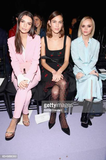 Emily Ratajkowski Alexa Chung and Christina Ricci attend the Altuzarra fashion show during New York Fashion Week on February 12 2017 in New York City
