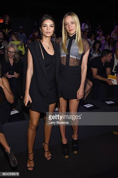 Emily Ratajkowski and Chloe Sevigny attend the Vera Wang Collection fashion show during New York Fashion Week The Shows at The Arc Skylight at...