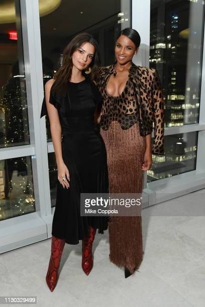Emily Ratajkowski and Ciara attend the InStyle Dinner to Celebrate the April Issue Hosted By Cover Star Ciara and Laura Brown on March 13, 2019 in...