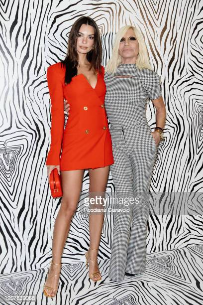 Emily Ratajkowski and Donatella Versace are seen backstage at the Versace fashion show on February 21, 2020 in Milan, Italy.
