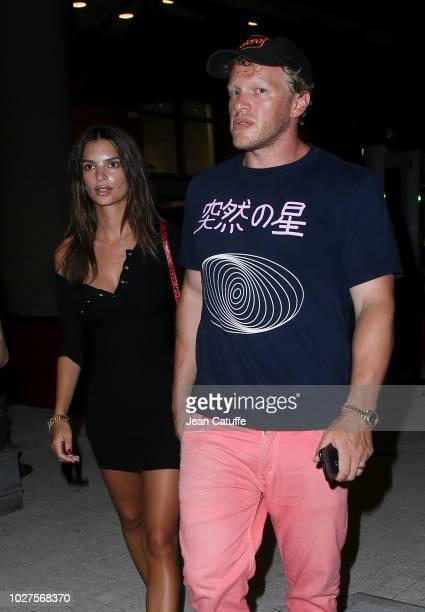 Emily Ratajkowski and husband Sebastian BearMcClard attend the victories of Madison Keys and Djokovic on day 10 of the 2018 tennis US Open on Arthur...