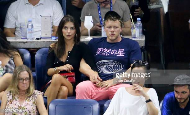Emily Ratajkowski and husband Sebastian Bear-McClard attend the victories of Madison Keys and Djokovic on day 10 of the 2018 tennis US Open on Arthur...
