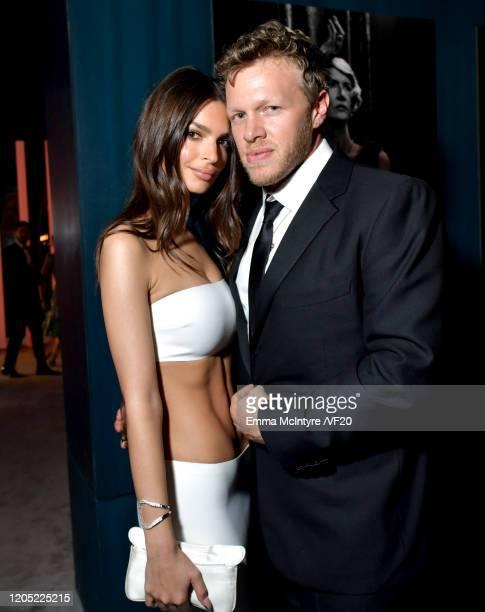 Emily Ratajkowski and Sebastian BearMcClard attend the 2020 Vanity Fair Oscar Party hosted by Radhika Jones at Wallis Annenberg Center for the...