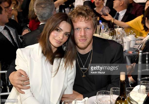 Emily Ratajkowski and Sebastian Bear-McClard attend the 25th Annual Critics' Choice Awards at Barker Hangar on January 12, 2020 in Santa Monica,...