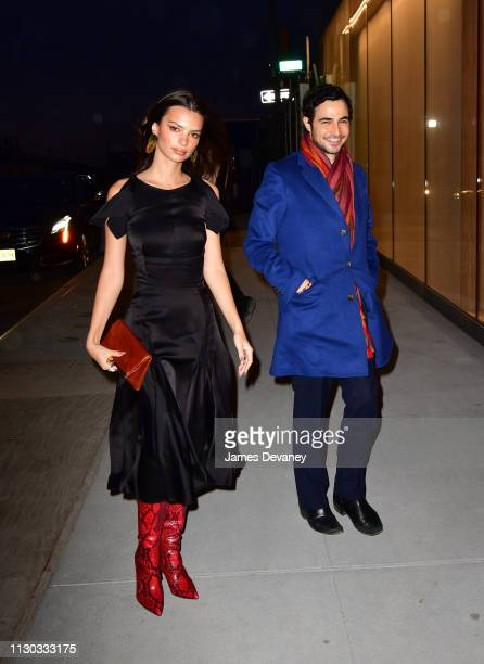 Emily Ratajkowski and Zac Posen arrive to a private dinner at 15 Hudson Yards on March 13 2019 in New York City
