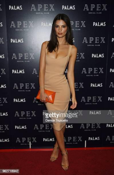 Emily Ratajkowski arrives at the grand opening of APEX Social Club with special Memorial Day weekend performance by Nas at Palms Casino Resort on May...