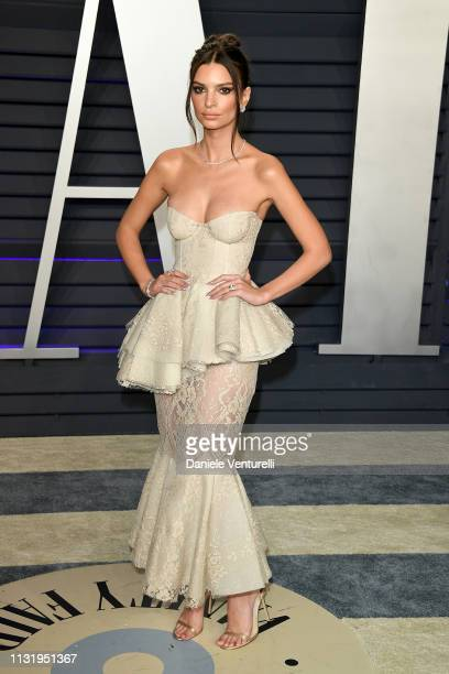 Emily Ratajkowski attends 2019 Vanity Fair Oscar Party Hosted By Radhika Jones Arrivals at Wallis Annenberg Center for the Performing Arts on...