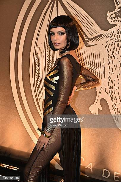 Emily Ratajkowski attends Bacardi x Kenzo Digital present 'We Are The Night' Halloween Party at the Duggal Greenhouse on October 29 2016 in the...