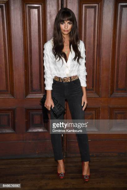 Emily Ratajkowski attends Marc Jacobs SS18 fashion show during New York Fashion Week at Park Avenue Armory on September 13, 2017 in New York City.