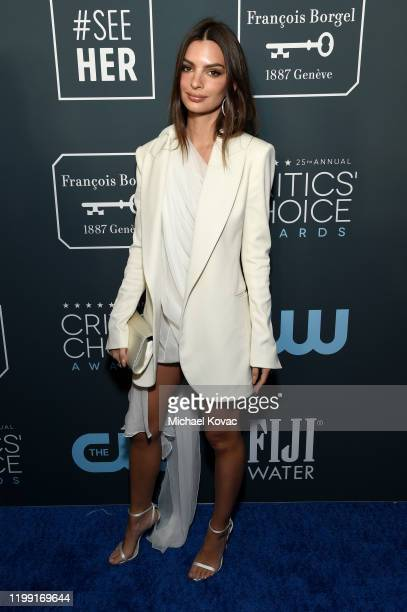 Emily Ratajkowski attends the 25th annual Critics' Choice Awards at Barker Hangar on January 12, 2020 in Santa Monica, California.