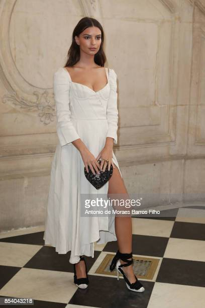 Emily Ratajkowski attends the Christian Dior show as part of the Paris Fashion Week Womenswear Spring/Summer 2018 on September 26 2017 in Paris France