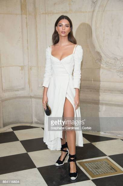Emily Ratajkowski attends the Christian Dior show as part of the Paris Fashion Week Womenswear Spring/Summer 2018 at on September 26 2017 in Paris...