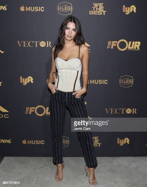 Emily Ratajkowski attends The Four cast Sean Diddy Combs Fergie and Meghan Trainor Host DJ Khaled's Birthday Presented by CÎROC and Fox on December 2...