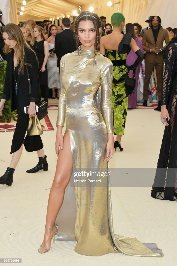 Emily Ratajkowski attends the Heavenly Bodies: Fashion & The Catholic Imagination Costume Institute Gala at The Metropolitan Museum of Art on May 7, 2018 in New York City.