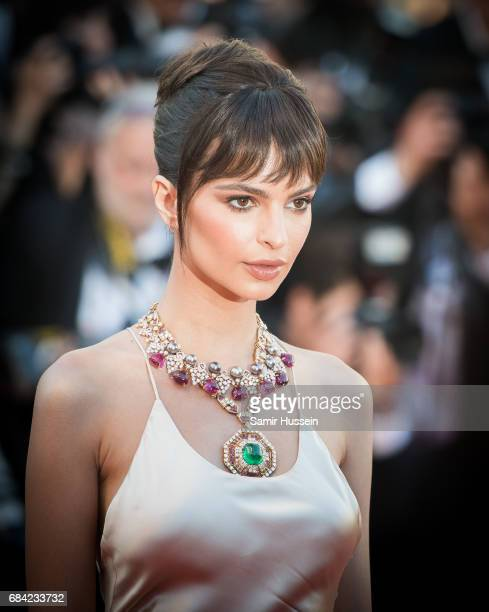 Emily Ratajkowski attends the 'Ismael's Ghosts ' screening and Opening Gala during the 70th annual Cannes Film Festival at Palais des Festivals on...