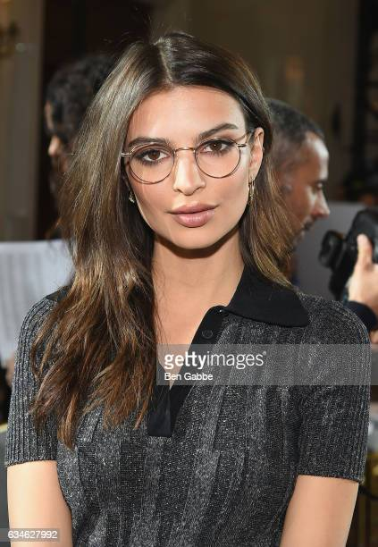 Emily Ratajkowski attends the Jason Wu collection Front Row during New York Fashion Week at The St Regis on February 10 2017 in New York City