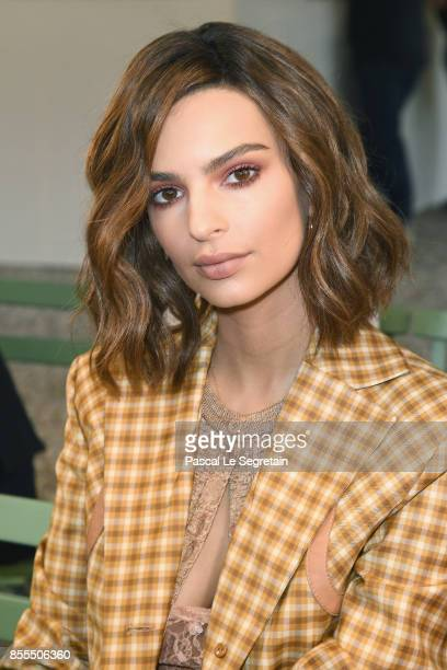 Emily Ratajkowski attends the Nina Ricci show as part of the Paris Fashion Week Womenswear Spring/Summer 2018 on September 29 2017 in Paris France