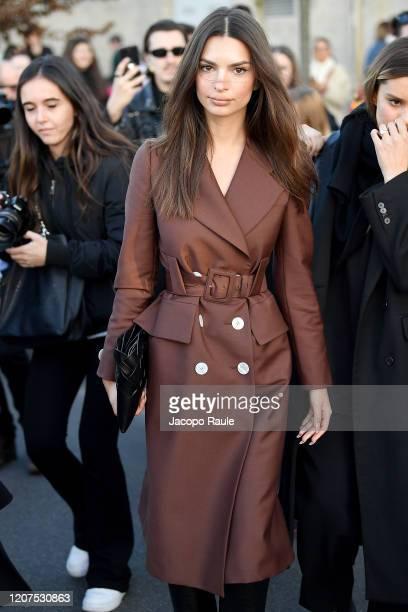 Emily Ratajkowski attends the Prada fashion show on February 20, 2020 in Milan, Italy.