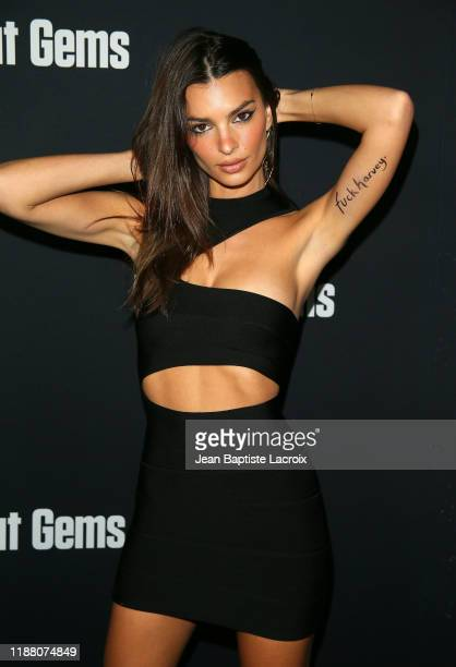 "Emily Ratajkowski attends the premiere of A24's ""Uncut Gems"" at The Dome at Arclight Hollywood on December 11, 2019 in Hollywood, California."
