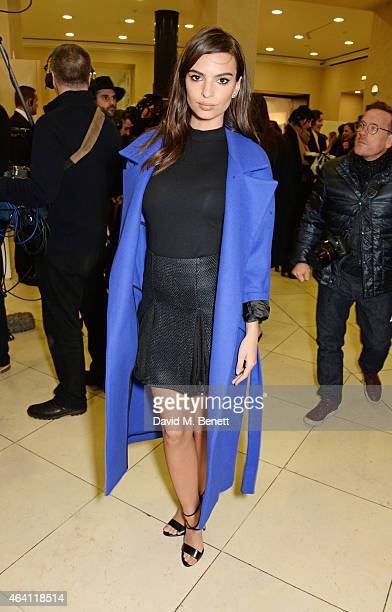 Emily Ratajkowski attends the Topshop Unique show during London Fashion Week Fall/Winter 2015/16 at Tate Britain on February 22 2015 in London England