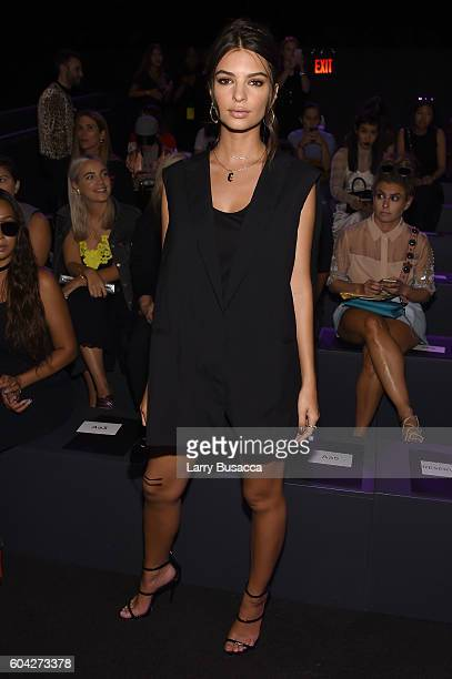 Emily Ratajkowski attends the Vera Wang Collection fashion show during New York Fashion Week The Shows at The Arc Skylight at Moynihan Station on...