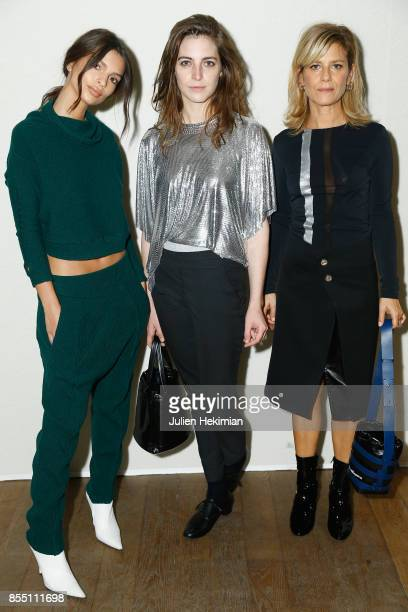 Emily Ratajkowski Fishbach and Marina Fois attend the Paco Rabanne show as part of the Spring Summer 2018 Womenswear Show at Grand Palais on...