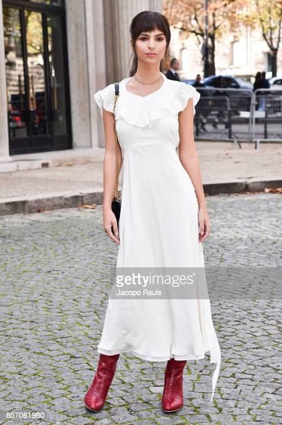 Emily Ratajkowski is seen arriving at Miu Miu show during Paris Fashion Week Womenswear Spring/Summer 2018 on October 3 2017 in Paris France
