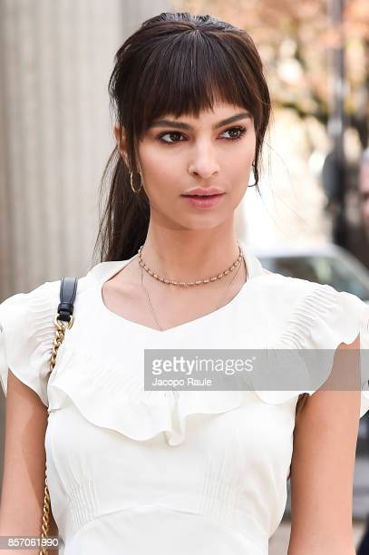 Emily Ratajkowski is seen arriving at Miu Miu show during Paris Fashion Week Womenswear Spring/Summer 2018 on October 3 2017 in Paris France