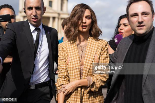 Emily Ratajkowski is seen attending Nina Ricci during Paris Fashion week wearing Nina Ricci on September 29 2017 in Paris France