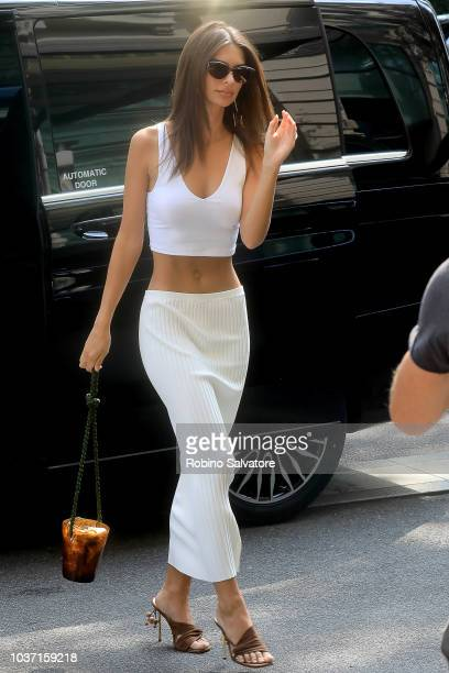 Emily Ratajkowski is seen during Milan Fashion Week Spring/Summer 2019 on September 21 2018 in Milan Italy