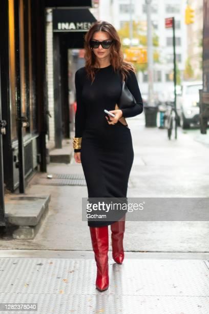 Emily Ratajkowski is seen in SoHo on October 26, 2020 in New York City.