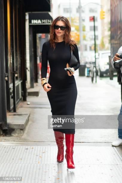 Emily Ratajkowski is seen in SoHo on October 26 2020 in New York City